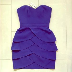Club Monaco strapless purple cocktail dress